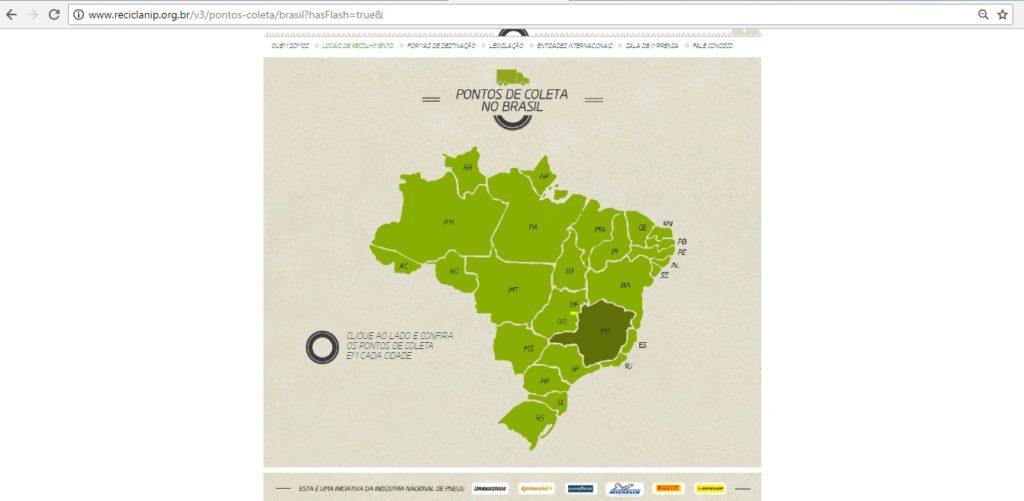 Ferramenta no site da Reciclanip para busca de pontos de coleta de pneus em diferentes estados e cidades do país.